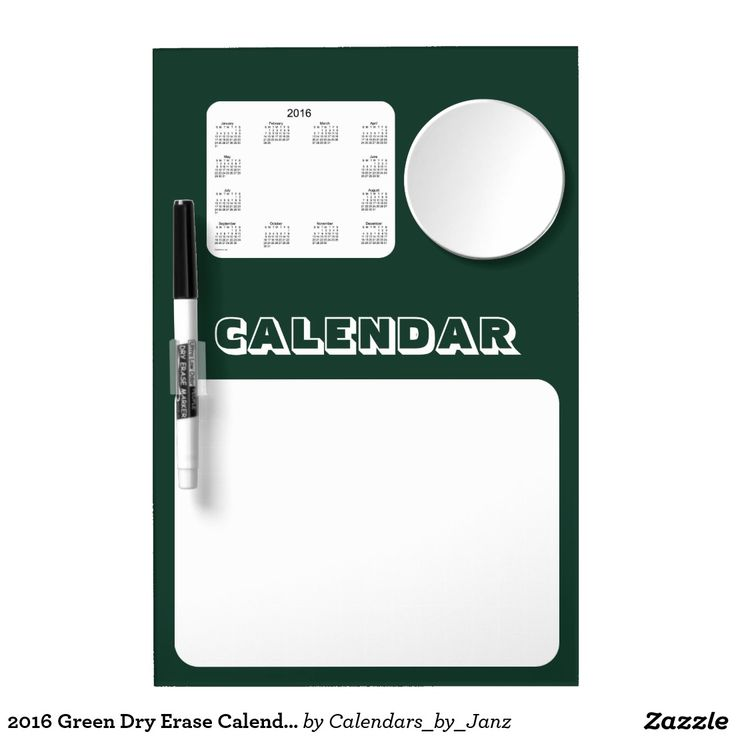 2016 Green Dry Erase Calendar by Janz Dry-Erase Whiteboard