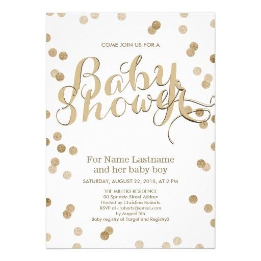 478 best modern baby shower invitations images on pinterest baby faux gold confetti modern baby shower invitation filmwisefo