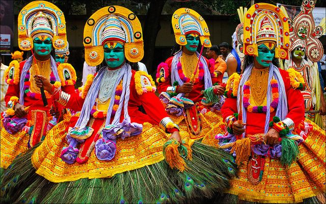 Thripunithura Athachamayam is a colorful festival that takes place on Atham (10 days before Onam) in Thripunithura, near Ernakulam in Kochi.  It includes a street parade accompanied by decorated elephants and floats, musicians, and various traditional Kerala art forms.  Photo: goindia.about.com