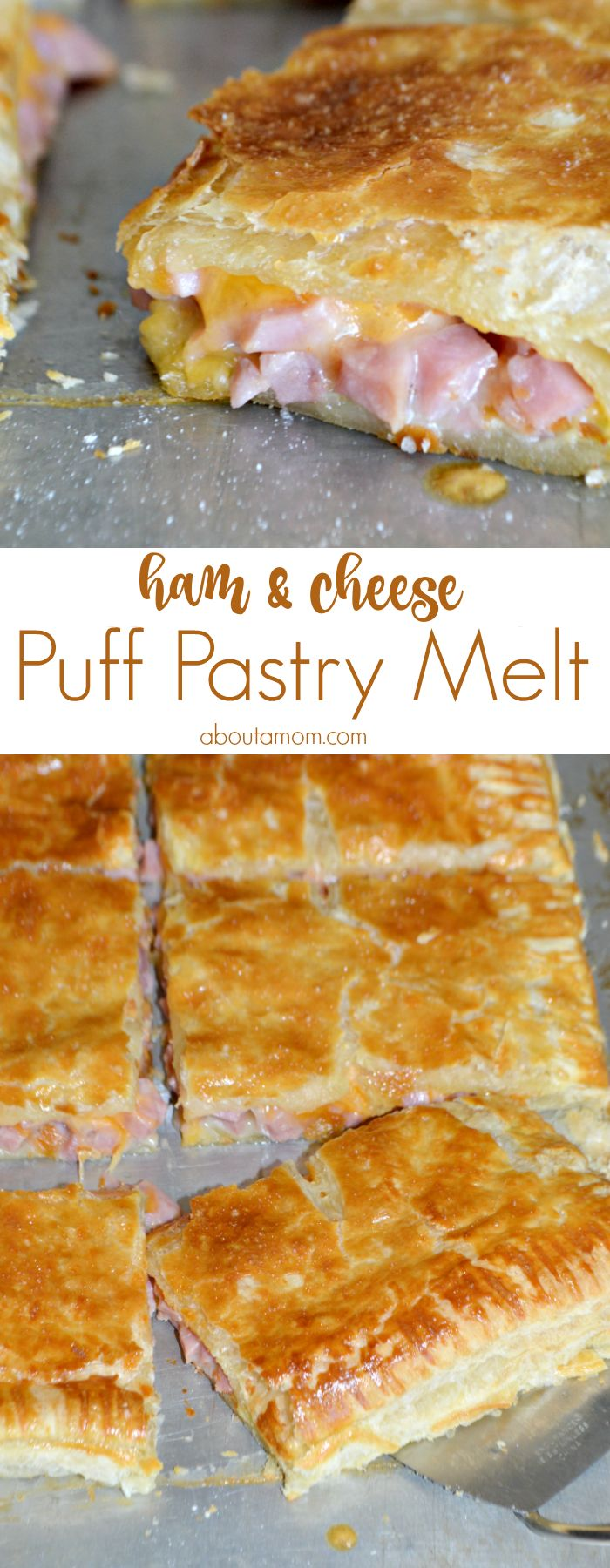 Delicious ham and cheese melted between layers of flaky puff pastry. This Ham and Cheese Puff Pastry Melt is the perfect way to use up leftover ham.