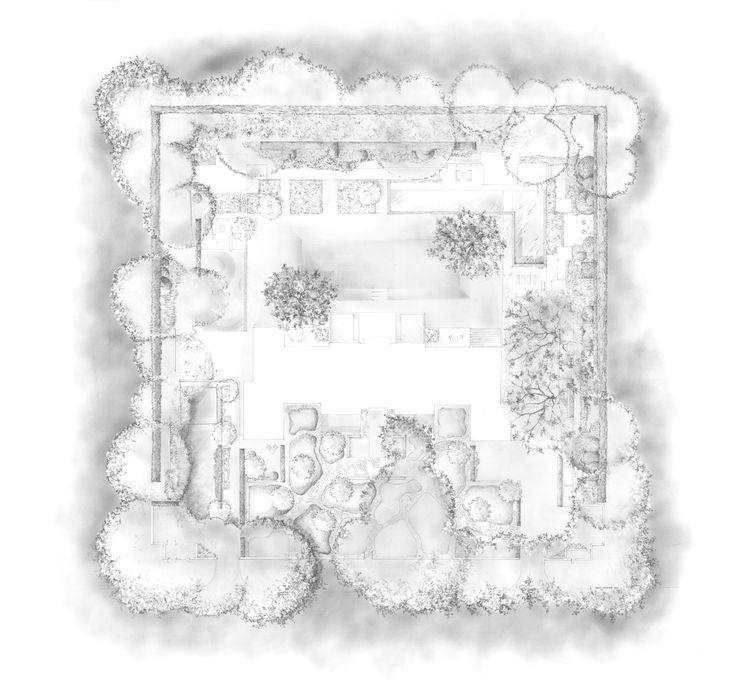San Francisco Garden Plan Pencil Drawing Alan Hughes