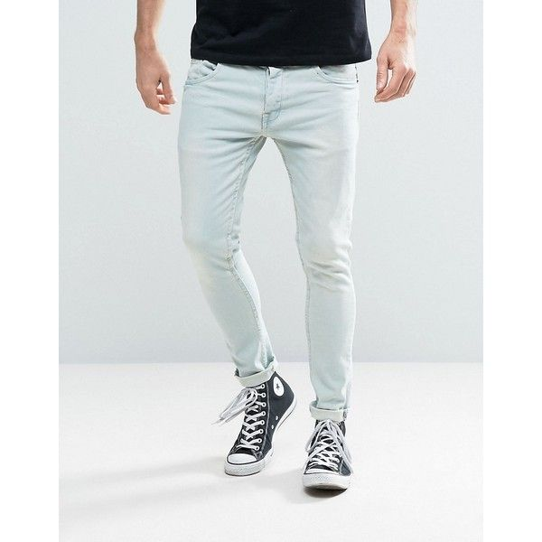Brave Soul Stretch Skinny Blue Wash Jeans (21.605 CLP) ❤ liked on Polyvore featuring men's fashion, men's clothing, men's jeans, blue, mens tall jeans, mens light wash jeans, mens stretchy jeans, mens light wash skinny jeans and mens stretch skinny jeans