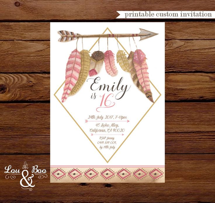 first birthday invitation wordings india%0A Printable Boho chic invite  feathers  tribal   bow and arrow  boho birthday  party invitation  teen birthday  baby shower invitation