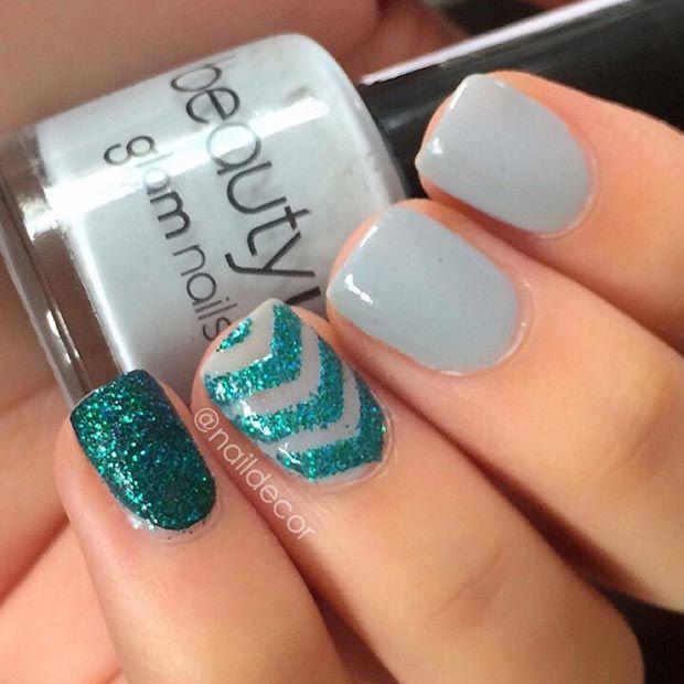 Gray and Green Glitter Nail Design for Short Nails
