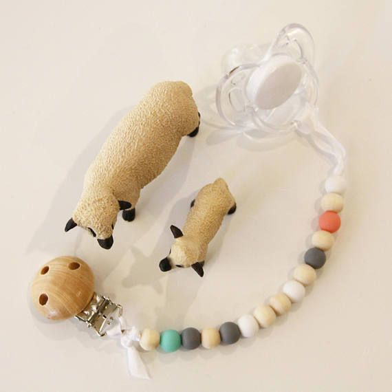 Dummy Clip Wooden and Silicone Bead - Pacifier Chain - Teether - in spearmint green, watermelon pink, grey, white and wood with timber clip