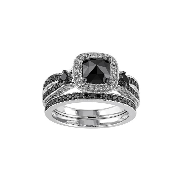 Black & White Diamond Halo Engagement Ring Set in Sterling Silver (1 1/2 Carat T.W.), Women's, Size: 5