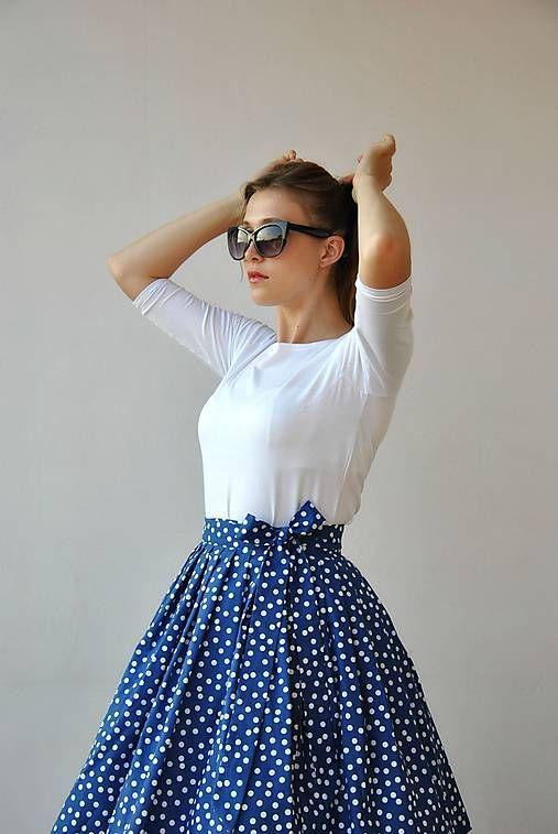 Zavinovací sukně Modrobílé puntíky!