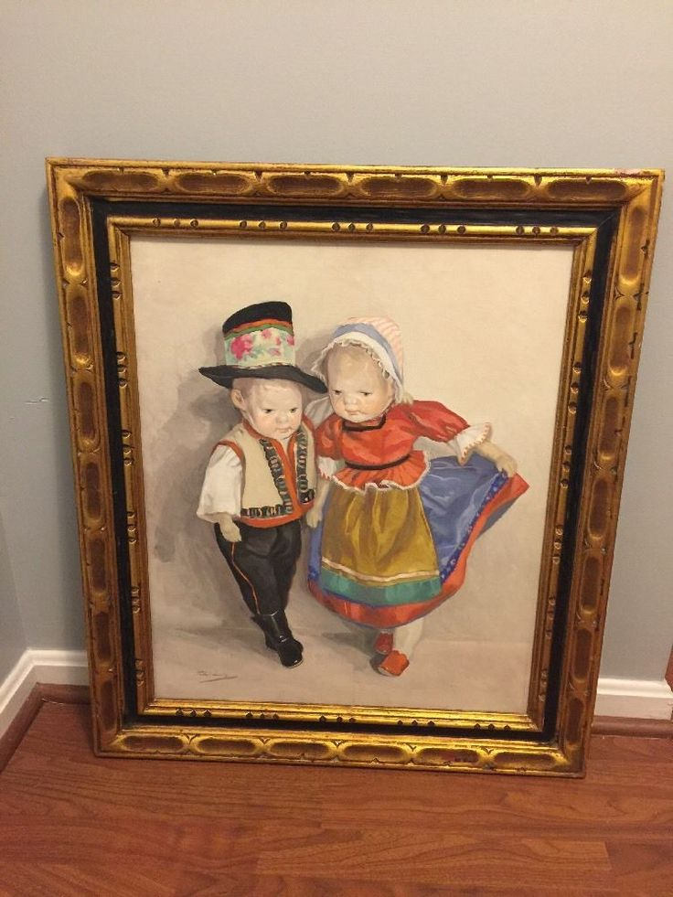Vintage Painting Of Kathe Kruse Dolls by Hungarian artist Lolly Feher c1950-1960