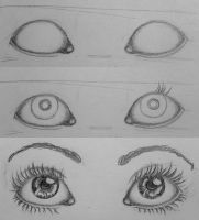 How to draw eyes by LadyLaveen. Sketch of big amazing pretty eyes.