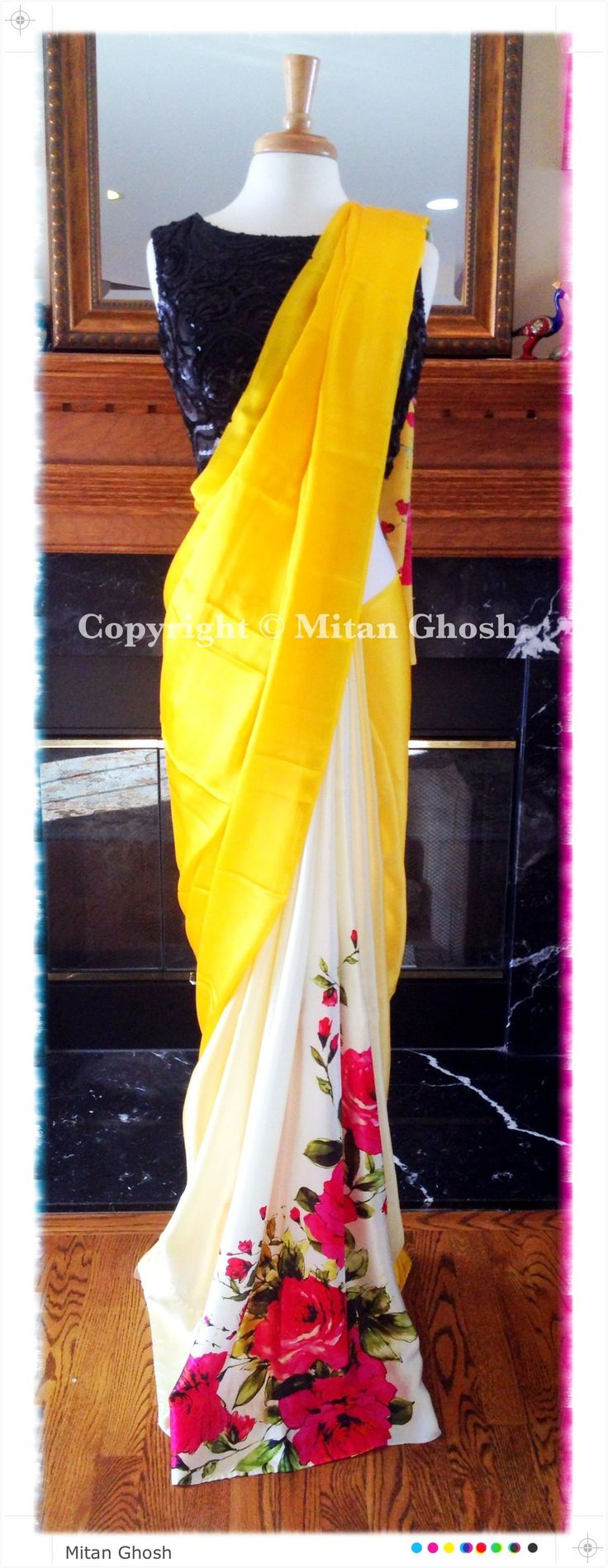 Mitan Ghosh White #Saree With Red Roses, Yellow Pallu  Black #Blouse.