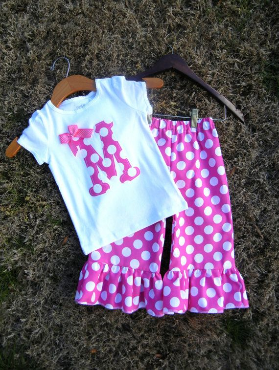 Bright Pink Dots Ruffle Pant Set - sizes 6m to 5T....SUPER CUTE and GREAT for Spring and Summer
