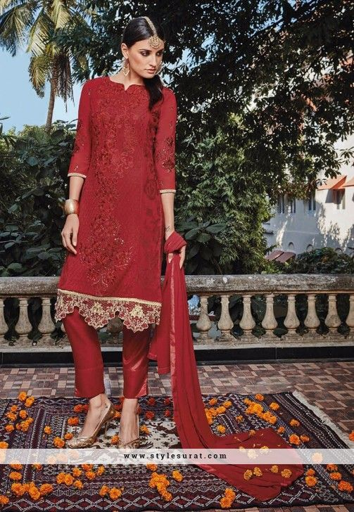 Resham Work Red Straight Cut Pant Style Salwar Suit