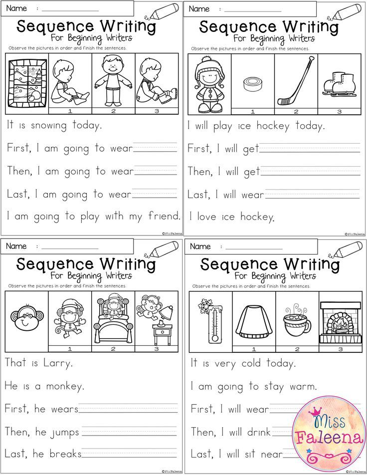 January Sequence Writing For Beginning Writers Sequence Writing Sequencing Worksheets Kindergarten Writing Prompts