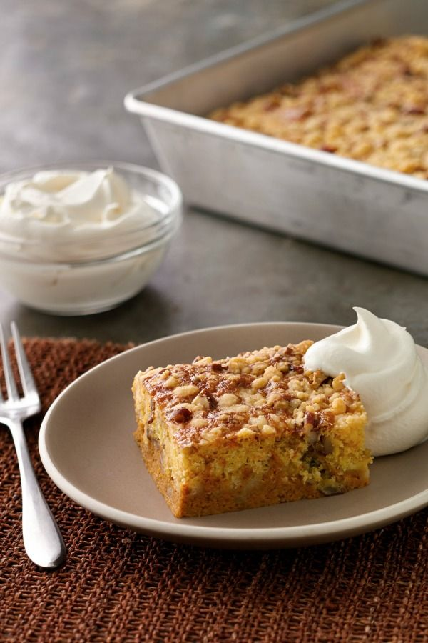 """""""Easy,"""" """"pumpkin pie"""" and """"cake"""": those are three things everybody loves! Yellow cake mix forms a buttery, crispy topping for this non-traditional pumpkin pie. Garnish with whipped cream and you just might have a new Thanksgiving family favorite on your hands."""