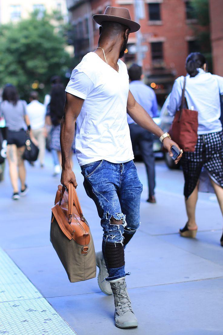 V neck tee/ white Pima tee/ ripped Jean/ vintage Jean/ vintage denim/ summer boot/ messenger bag/ men's wear/ men's fashion/ street style #streetstyle