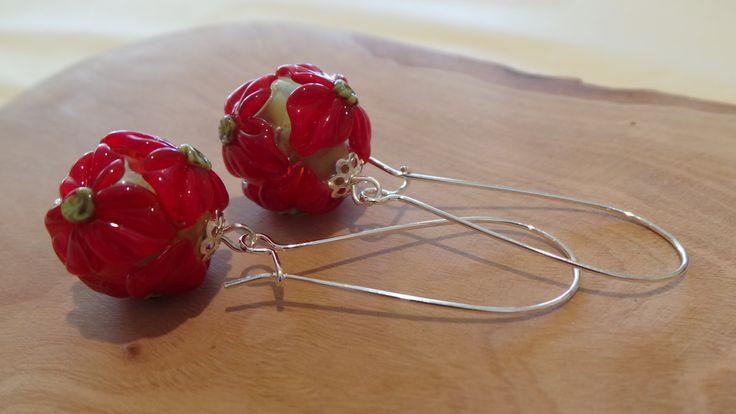 Perfect Poinsettias -  Handmade Lampwork Glass Bead Christmas Flower Silver Earrings by SilverBrightStudio on Etsy