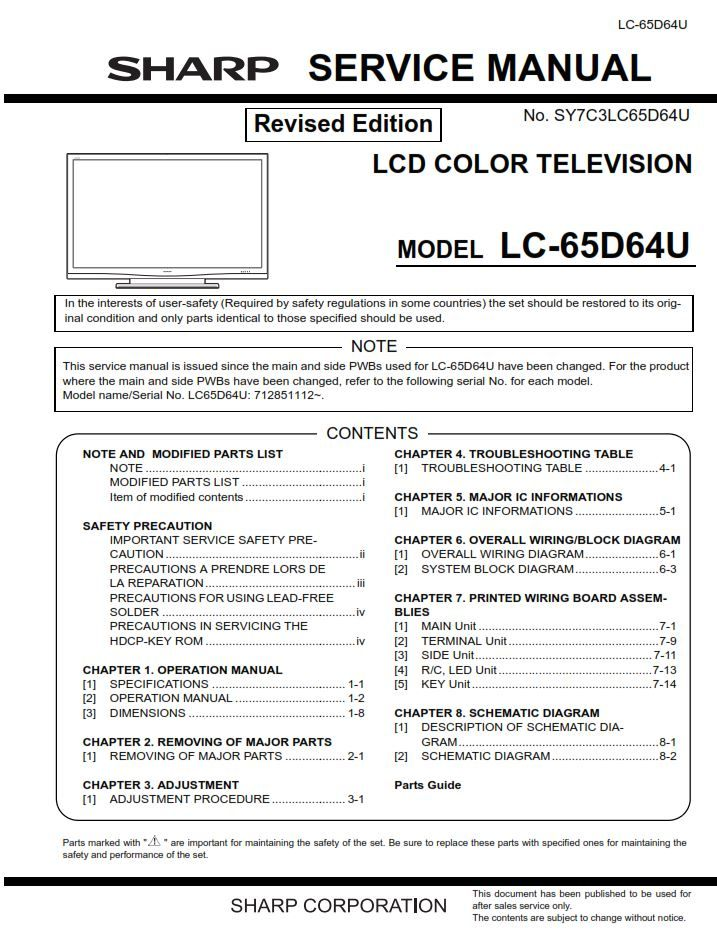 Sharp Lc 65d64u Tv Service Manual And Repair Instructions Tv Services Manual Repair