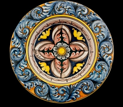 Special processing for this plate with flap fashioned wet.  Rosette decoration on traditional enamel ancient cracquelè. For decoration pourpose only.