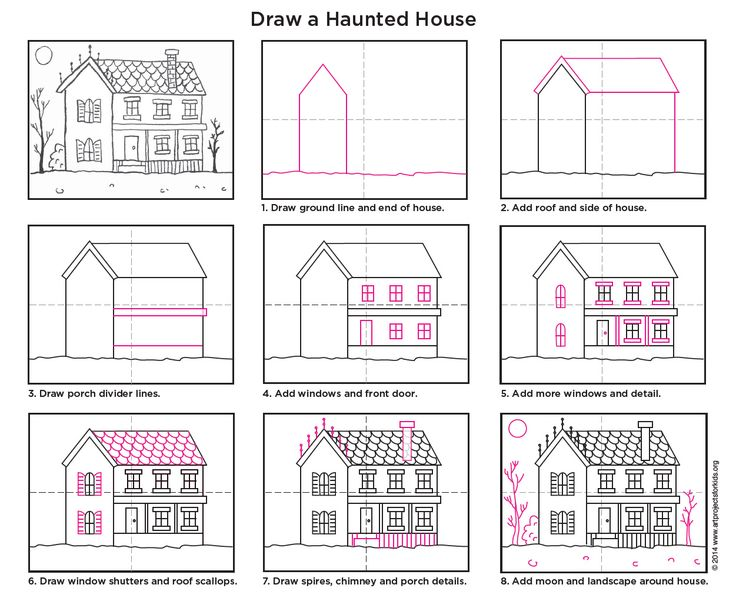 how to draw a halloween house