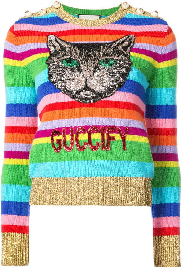 Embroidered Stripe Knit Sweater Cat Sweaters Knitted Cat