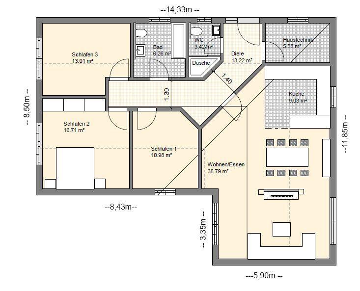 BGXL5 Bungalow Grundriss 117qm 4 Zimmer , 117qm BGXL5