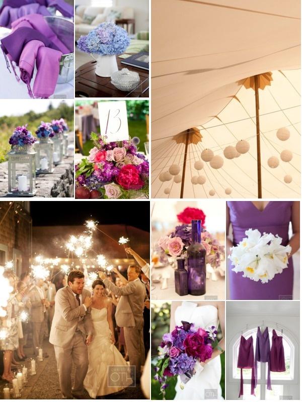 purple, blue, pink flowers, outdoor tent wedding decor