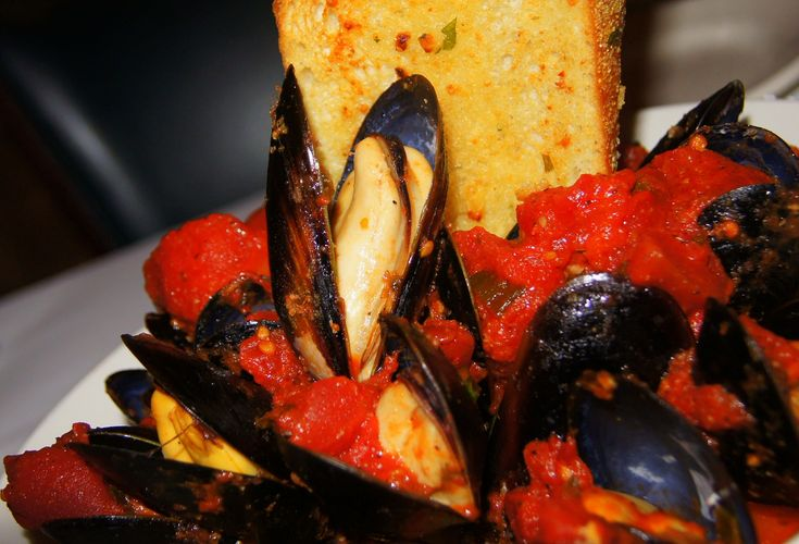 Steamed Mussels Spicy Tomato Broth | Seafood | Pinterest