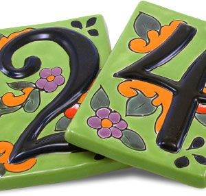 $9 Liven up the exterior of your home with these eye catching Talavera address numbers. Each Talavera address number is hand-painted in Dolores Hidalgo, Mexico, and embodies all the classic charm of Mexican Talavera.