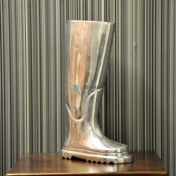 Nickel Plated 45cm Wellington Boot €130   Call and secure over the phone: 01-4966851 or on http://www.rugstorhinos.com/ #wellington #interiordesign
