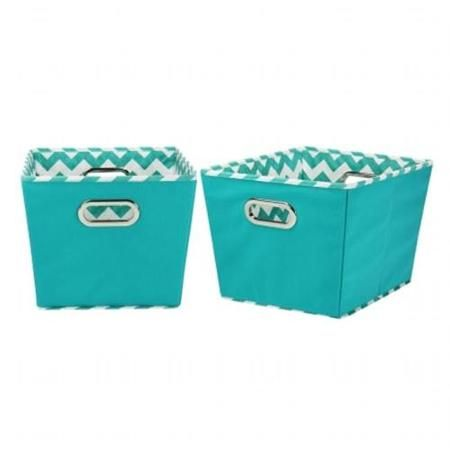 Household Essentials Medium Decorative Storage Bins, 2pk, Aqua And Chevron