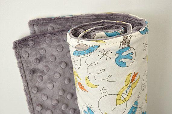 Baby Blanket Organic Spaceships and Charcoal Gray by SirBubbadoo, $48.00: Baby Folkman, Minki Baby, Baby Blankets Too, Baby Surprise, Baby Blankettoo, Blankets Organizations