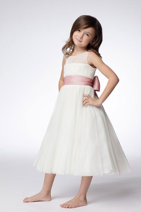 Empire waist sleeveless net beautiful flower girl dress