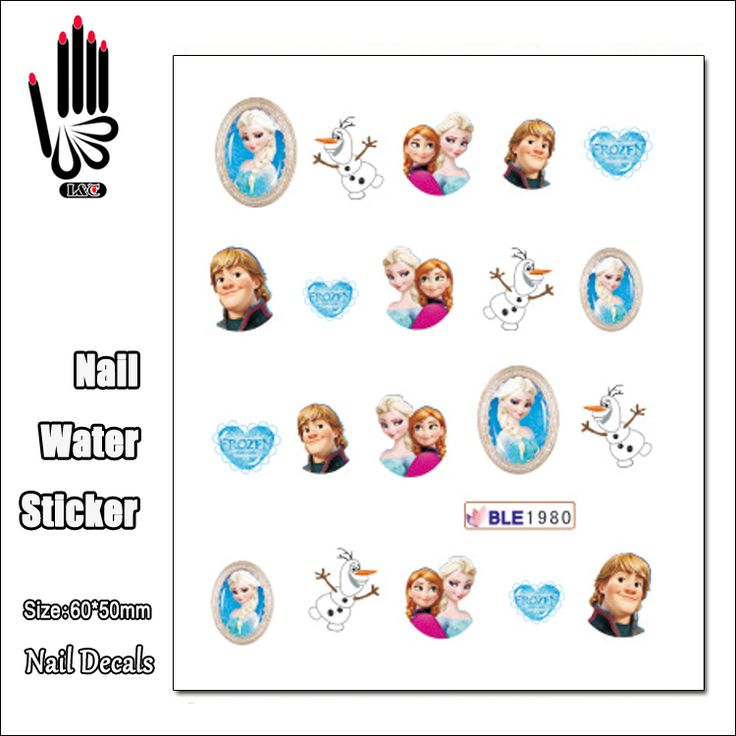 1 Lembar Kuku Murah BLE1980 Kartun Es Salju Putri Kuku Sticker Decal Sticker Untuk Nail Art Dekorasi
