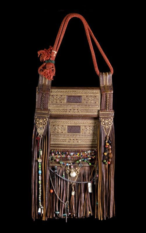 Decorated leather bag