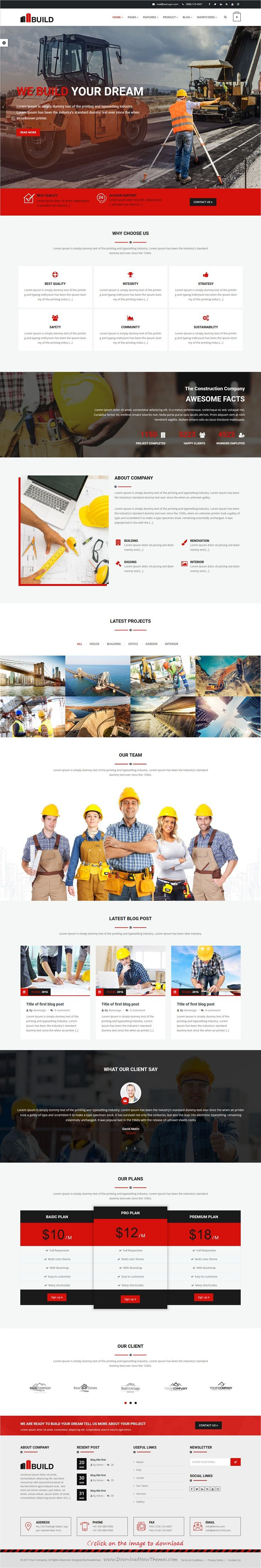 Build is clean and modern design 3in1 responsive #HTML5 template for #construction and #building company website download click on image.