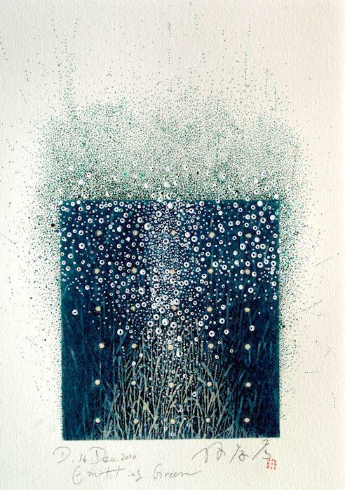 "takahikohayashi:  "" Emitting Green 16.Dec.2010  painting, collage on original printed paper  林孝彦 HAYASHI Takahiko  """