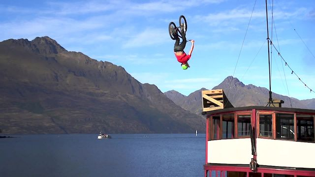 2014 Queenstown Bike Festival   Big Back Flip, Big Boat, Big Views   Kelly McGarry. The official opening of the Queenstown Bike Festival kicked off with Kelly McGarry riding along the roof of the TSS Earnslaw, iconic 101 year old steamer and lady of chilly Lake Wakatipu.