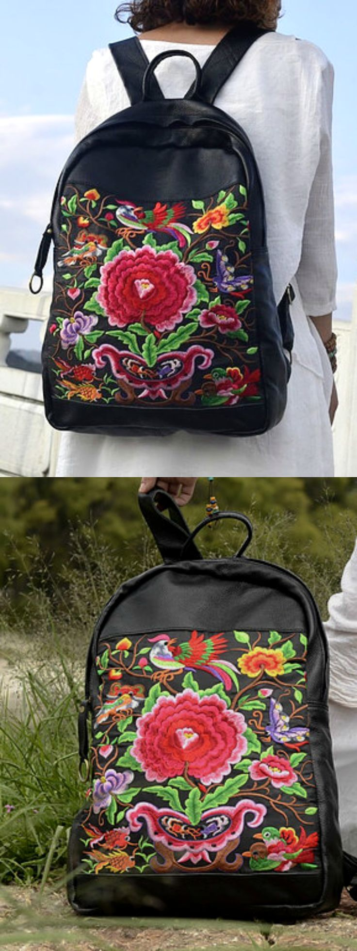 Boho Embroidery Leather Backpack is Now Available at Pasaboho *this ethnic bag exhibits brilliant colours with unique embroidered flowers and birds.