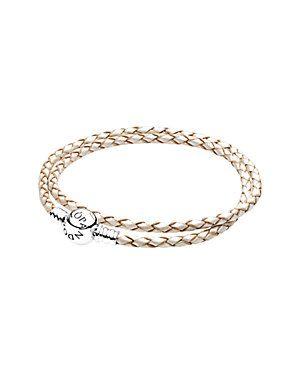 f233ad040 Rue La La — PANDORA Silver & Woven Ivory White Leather Double Wrap Charm  Bracelet