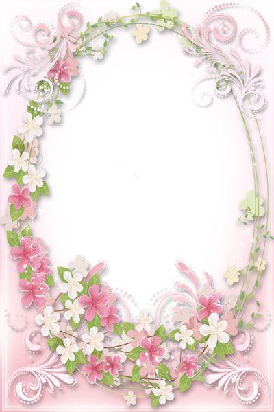 Transparent Soft Pink Flowers Frame   :)