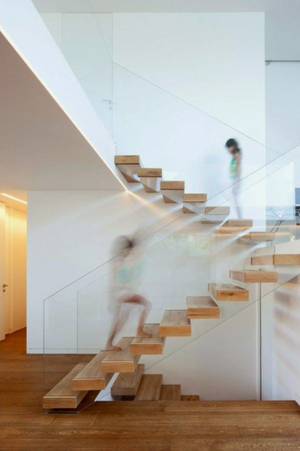 modern wooden stairs floating steps with glass fender