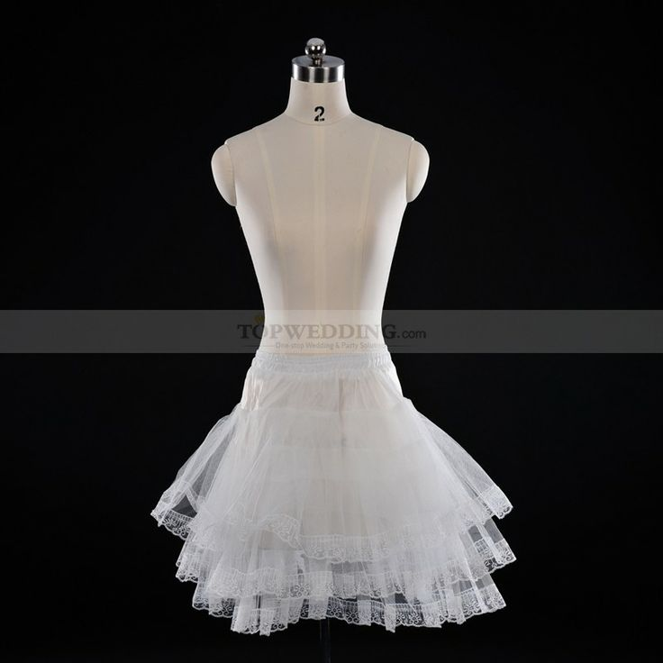 Ivory Short Tulle Petticoat with Lace Detailed Trim