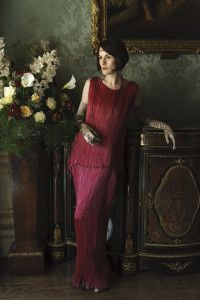 Lady Mary in a gorgeous ORIGINAL Fortuny Delphos gown for the series 6 christmas special of Downton Abbey
