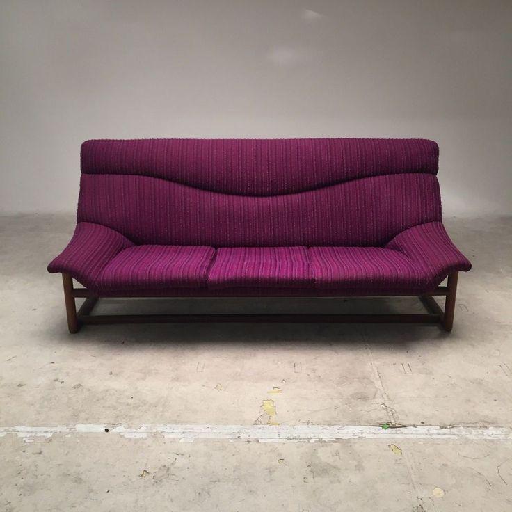 Vintage 1968 Danish Deluxe sofa blackwood frame with purple woollen upholstery  | eBay