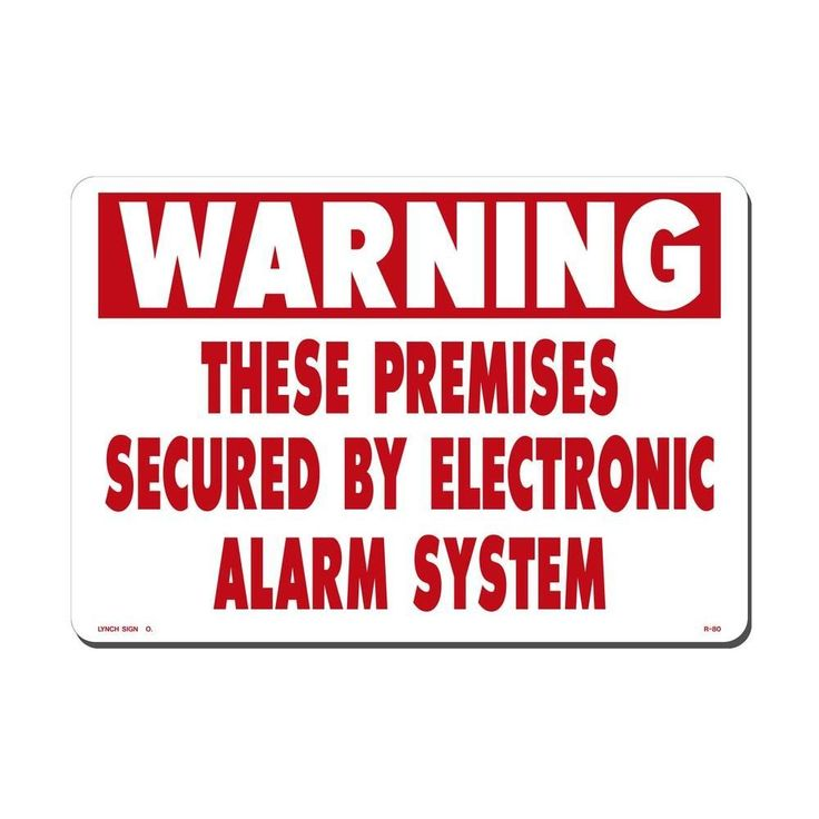 14 in. x 10 in. Red on White Plastic These Premises Secured by Electronic Alarm Sign, White And Red