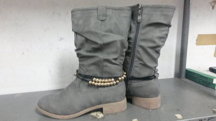 Grey Half Boot with Ankle Bead Detail.