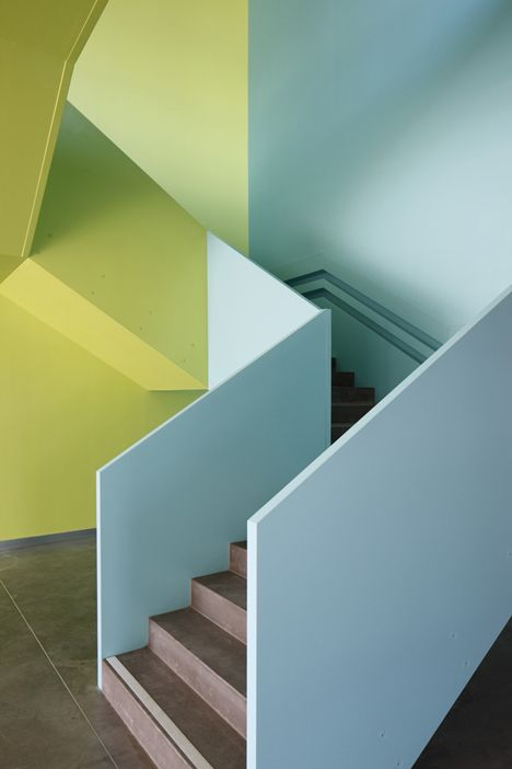 Blue and green should never be seen unless its on a rather funky staircase.