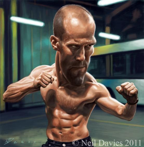 Caricatura del actor de origen Británico, Jason Statham, realizada por el artista Neil Davies. ...