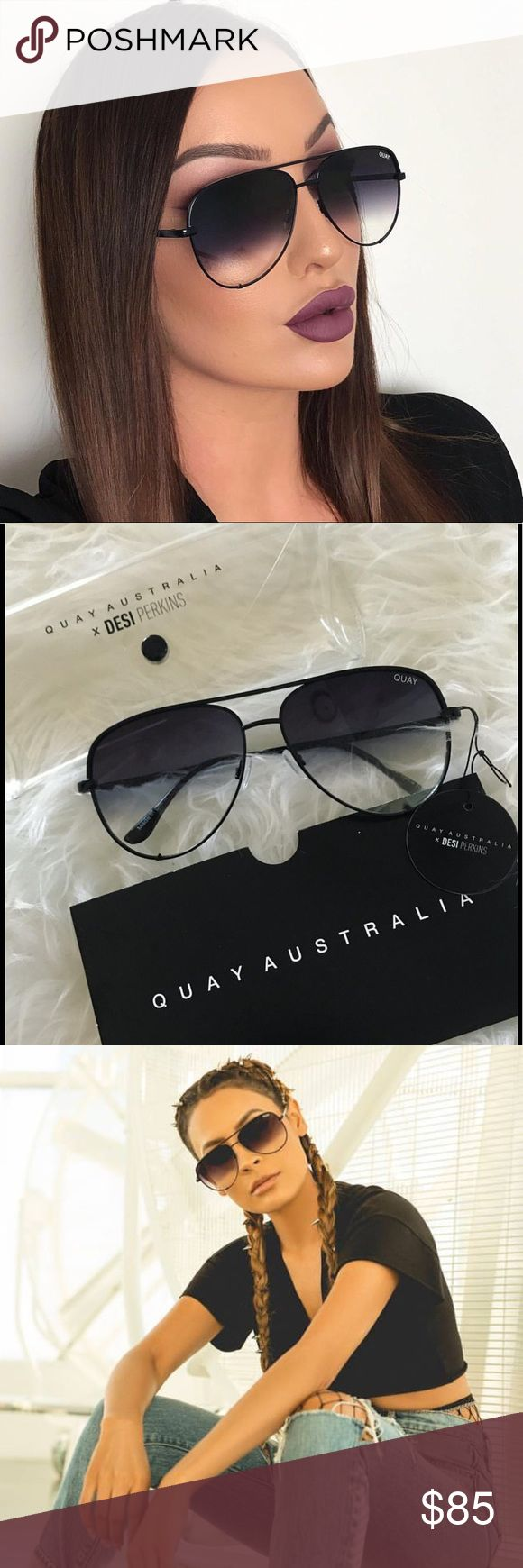 QUAY Australia High Key Black Fade The newest sunnies by Quay Australia SOLD OUT almost everywhere! Get these exclusive sunnies from the Quay Australia / Desi Perkins limited editions, brand new complete with case! Quay Australia Accessories Sunglasses