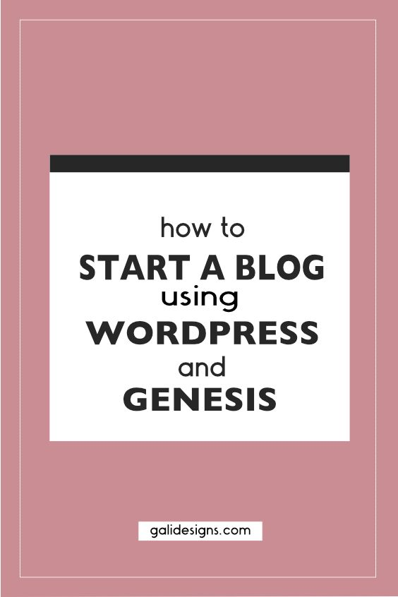 Wordpress and Genesis are the best way to start a blog.